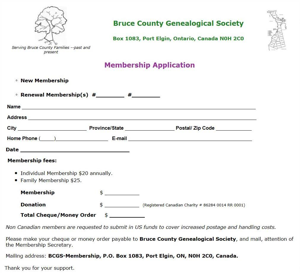 BCGS Membership Application