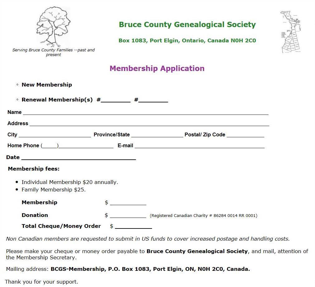 BCGS Membership Application
